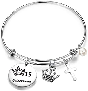 FEELMEM Quinceanera Gift 15th Birthday Bracelet Girls Sweet 15 Quinceanera Expandable Wire Bangle Quince Jewelry Happy 15th Birthday Gift for Girls