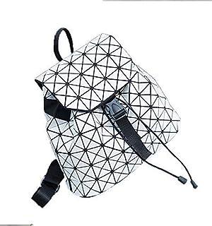 Asdfnfa Backpack, Geometric Fashion Women Backpack Luminous Ladies Rucksack Purse Lingge Fashion School Backpack Casual Daypacks Holographic (Color : White)