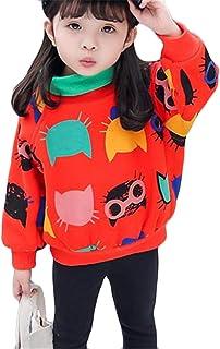 (ジャンーウェ)キッズ パーカー 女の子 ベビー服 ハイネック プリント 猫柄 プルオーバー 裏起毛 暖かい 秋冬 インナー アウター 人気 おしゃれ 0-5歳