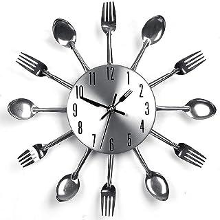 nearbyeu Reloj de Pared de la Marca Cocina, Tenedor y Cuchillo Creativo para Colgar en el hogar, Oficina, Club