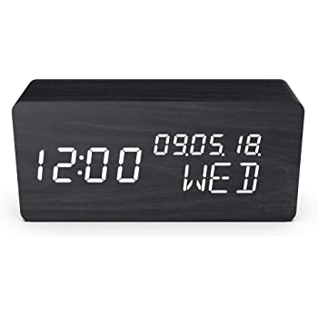 Evoom Wood - Despertador electrónico Qi inalámbrico para Smartphone y termómetro, Madera, Color Negro: Amazon.es: Hogar