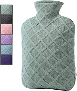 FORICOM Hot Water Bottle with Soft Cover 2.0L Large Classic BPA Free Hot Water Bag for Pain Relief, Neck, Shoulder Pain and Hand Feet Warmer, Menstrual Cramps, Hot Compress and Cold Therapy(Green)
