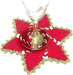 Posavaso en forma de estrella rojo y dorado de ganchillo para Navidad - Tamaño: ø 15.5 cm - Handmade - ITALY