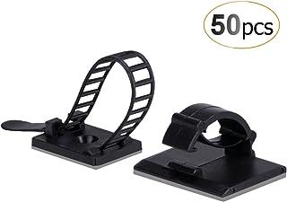 50 Stück Kabelklemme Set Management Kabelbefestigung Drahthalter mit Klebstoff Gesicherte Unterlage, 25 Verstellbare Kabelhalter  25 Kabel Clips von AGPTEK, Schwarz