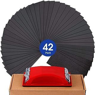 Sandpaper Girt 120 to 3000 Sand Paper with Sanding Block Sander, Wet Dry Variety Pack Abrasive Sandpapers Assortment for W...