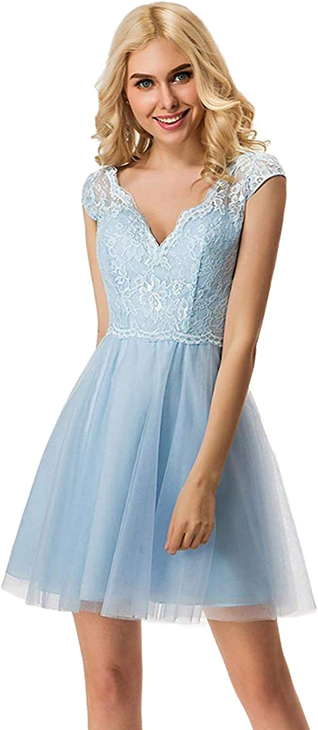 Yiweir Women's ALine Tulle Lace Homecoming Dresses 2018 Short Prom Gowns YH119