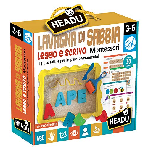 Headu- Leggo e Scrivo Montessori Juego Educativo de Pizarra de Arena, Multicolor (IT22403)