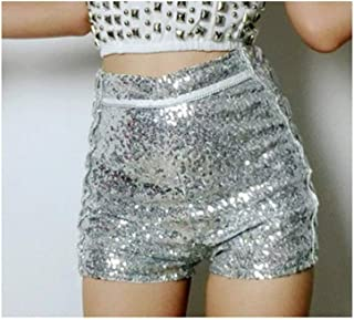 Dance Costume Jazz Sequined high Waist Shorts bar ds Collar Dance Hip-hop Stage wear (Color : Silver, Size : M)