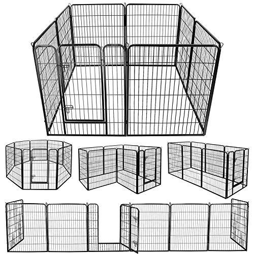 DUDUPET ペットフェンス 大型犬用 中型犬用 ペットケージ パネル8枚 四角ポール 折り畳み式 ペットサークル スチール製 複数連結可能 室内室外兼用 犬小屋 ペット用品 (100*80cm-8枚)