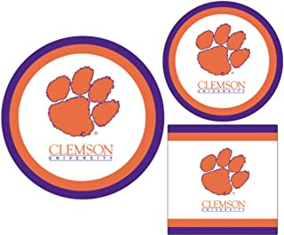 Clemson Tigers Party Supplies - Bundle Includes Paper Plates and Napkins for 10 People