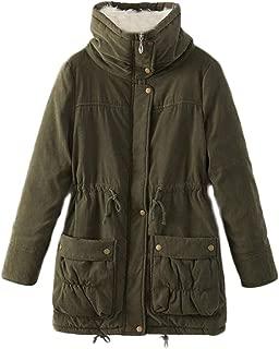 Soluo Women's Winter Long Thicken Puffer Coat Cotton Parkas Outdoor Jacket Winter Warm Faux Lamb Wool Outerwear