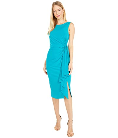 Vince Camuto Boatneck Midi with Side Ruffle (Transparent) Women