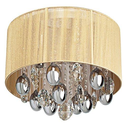 MW-Light 465011305 Araña de Lujo de Metal Cromado Gotas de Pantalla de Cristal Beige Tejido de Estilo Barroco Con elementos decorativos E14 5X40WEscl