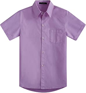 4b4129f7 Spring&Gege Boys' Short Sleeve Solid Formal Cotton Twill Dress Shirts