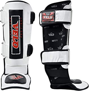 VELO Shin Guard MMA Instep Leg Pads Muay Thai Boxing Training Protective Gear Kickboxing Black (White-Black, L)