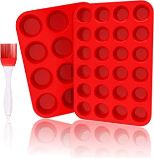 Silicone Muffin Pan Set - 12 Cups & 24 Cups Cupcake Pan with Free Cleaning Brush, Food Grade Silicone Baking Molds, BPA Free