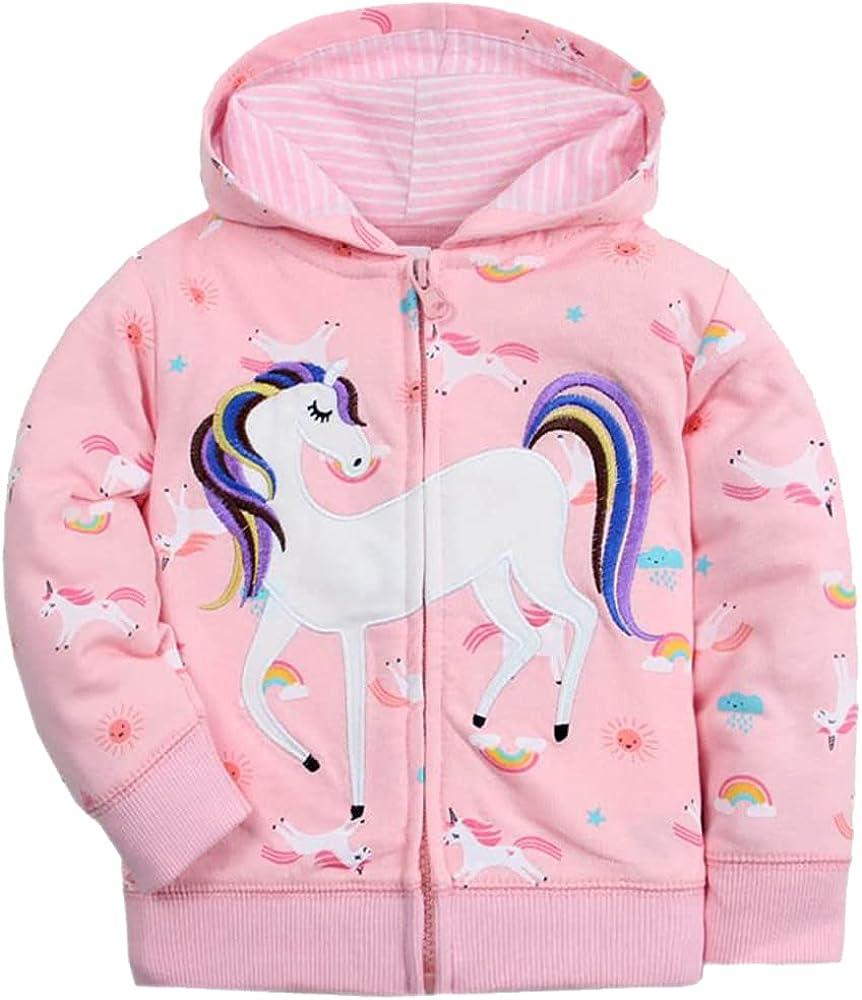 Toddler Unicorn Hoodie Zip Up Cute Jackets for Baby Girls Outdoor Cartoon Hooded Sweatshirt for Kids