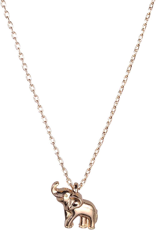 Lux Accessories Gold Tone Little Cute Elephant Charm Pendant Chain Necklace