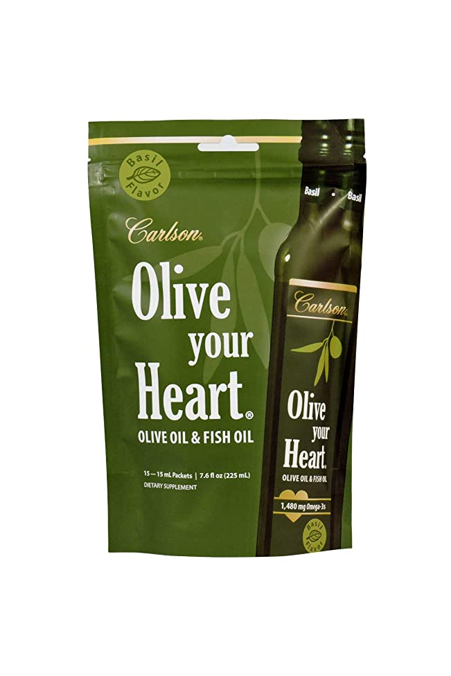 Carlson - Olive Your Heart, Olive Oil & Fish Oil, 1480 mg Omega-3s, Basil Flavored, 15 Packets, 15