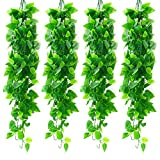 Tiyard 4pcs Artificial Hanging Plants 3.6ft Fake Vine Ivy for Wall Home Porch Garden Outdoor IndoorDecor