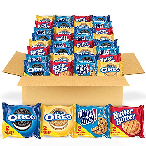 OREO Original, OREO Golden, CHIPS AHOY! & Nutter Butter Cookie Snacks Variety Pack, 56 Snack Packs (2 Cookies Per Pack)
