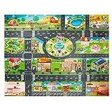 Vie de la ville de tapis de tapis de enfants, tapis en plastique de PVC -100X130cm tapis de jeu de tapis de tapis et cadeau éducatif d'apprentissage pour enfants et chambres à