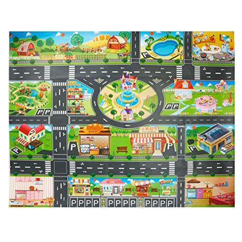 JTMM Tapete de plástico para PVC,Tapete de Juego para niños 100X130cm Alfombra para City Life, Área de Juego para Juego de alfombras para niños Alfombra y Regalo de Aprendizaje Educativo para niños