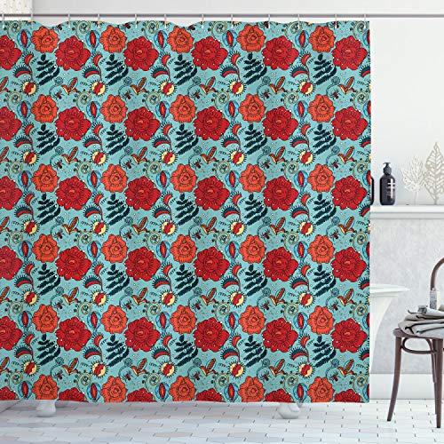 ABAKUHAUS Blumen Duschvorhang, Venus Fliegenfalle Blumen, mit 12 Ringe Set Wasserdicht Stielvoll Modern Farbfest und Schimmel Resistent, 175x180 cm, Mehrfarbig