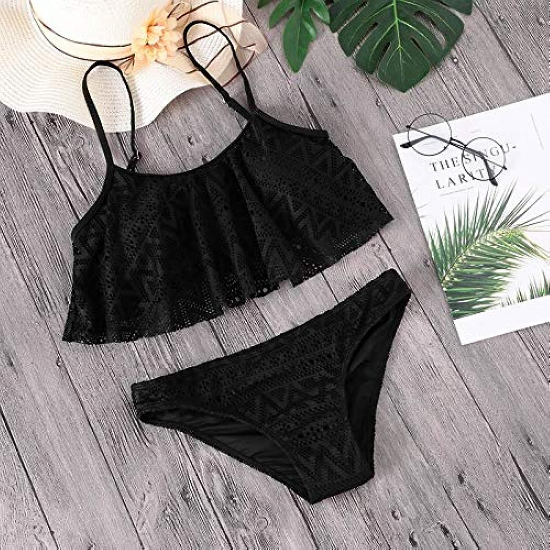 HITSAN Minimalism Le Lace Bikini Set Women Swimsuit Solid Swimwear Lotus Leaf Bathing Suit 2018 Beach Wear Female Bikinis Biquini color Black Size M