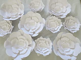10 Piece Giant Flower Wall Backdrop Set White Rose Wedding Photography Background 6-12 Inches Paper Roses