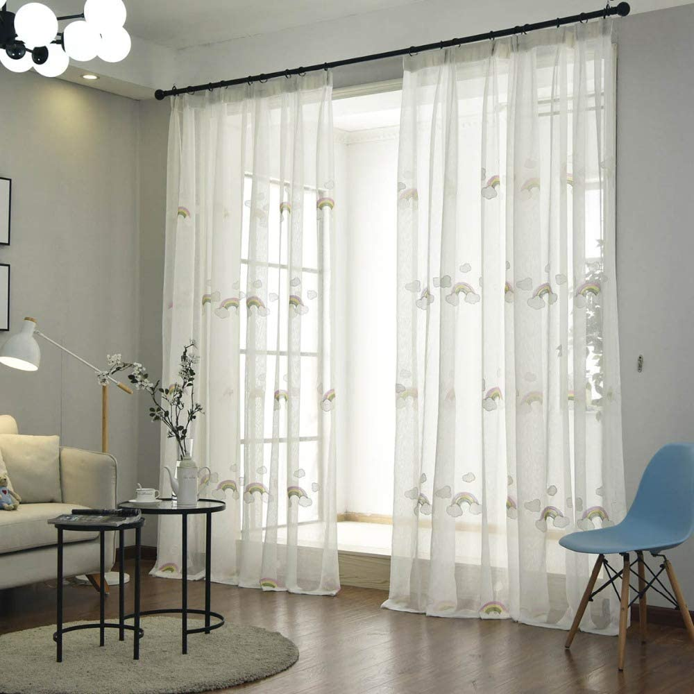 curtain Sheer Window Screen Embroidered Rainbow 67% OFF of fixed 5 ☆ very popular price Yarn for Bedroom