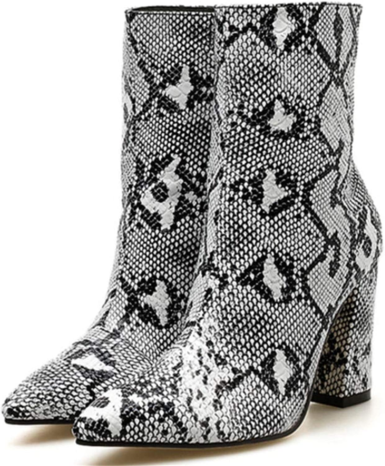 F1rst Rate Women shoes Boots Snakeskin Pattern Thick Pointed Toe Zip Booties