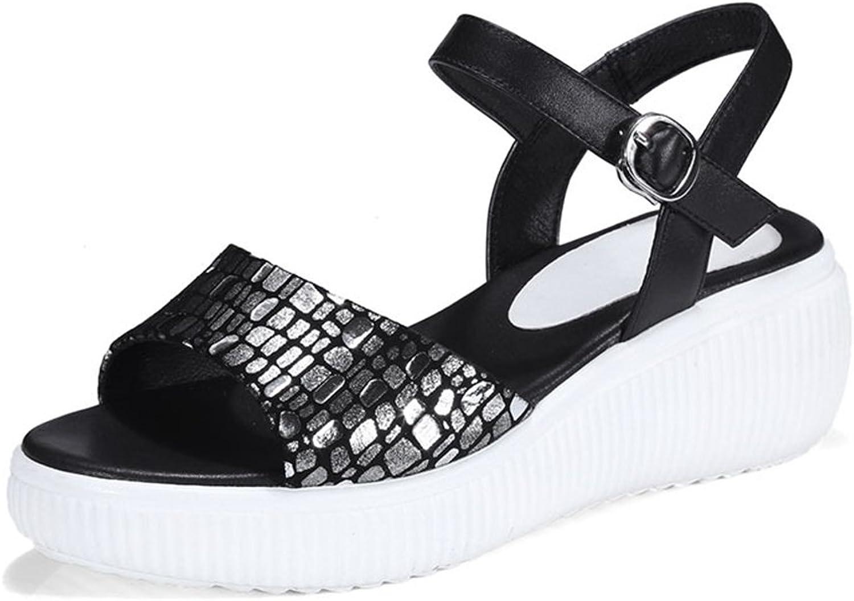 Women's shoes PU(Polyurethane) Spring Summer Comfort Sandals Waterproof Platform Buckle Sandals Platform Round Toe Hook