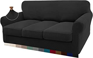Granbest 4 Piece High Stretch Couch Covers for 3 Cushion Couch Super Soft Fitted Sofa Slipcover Non-Slip Sofa Cover Furnit...