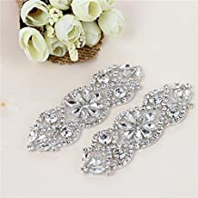 2 PCS Bridal Wedding Applique Silver Crystals Rhinestones Beaded for Women Gown Evening Prom Clothes