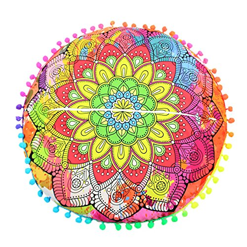 Printasaurus Pillow Cover  Indian Mandala Floor Pillows Round Bohemian Cushion Pillows Cover Case Cushions Home & Garden Pillow Case