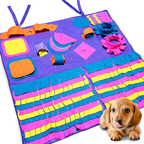 Dog Food Mat by Seonova Snuffle Mat – Interactive Puzzle Toys Feeder for Dogs – Slow Feeding Mat – Stimulates Brain & Engages Smell – Machine Washable – All Breeds & Sizes – Nosework & Rooting Mat