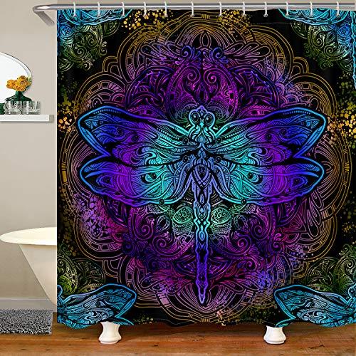 "Erosebridal Bohemian Dragonfly Shower Curtain Mandala Paisley Bathroom Shower Curtain Purple Dragonfly Bath Curtain Tie Dye Trippy Iridescent Chic Hippie Shower Curtain 72"" W x 72"" L"