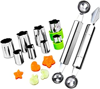 Fruit Vegetable Cutter Shapes Set, Mini Pie and Cookie Stamps Mold(8 pcs) with Melon Baller Scoop & Carving Knife, Stainless Steel, DIY Fun Food Decorating Tools cookie cutter for Kitchen
