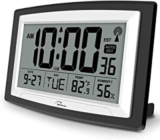 WallarGe Atomic Clock with Indoor Temperature and Humidity,Self-Setting Digital Wall Clock or Desk Clock,Battery Operated Alarm Days Digital Clock Large Display for Seniors,Auto DST.