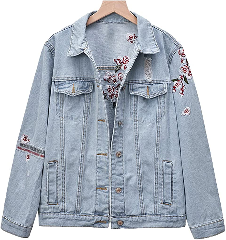 Plum Blossom Flower Embroidery Ripped Jeans Jackets Women Harajuku Loose Ripped Light Blue Denim Coat Outwear