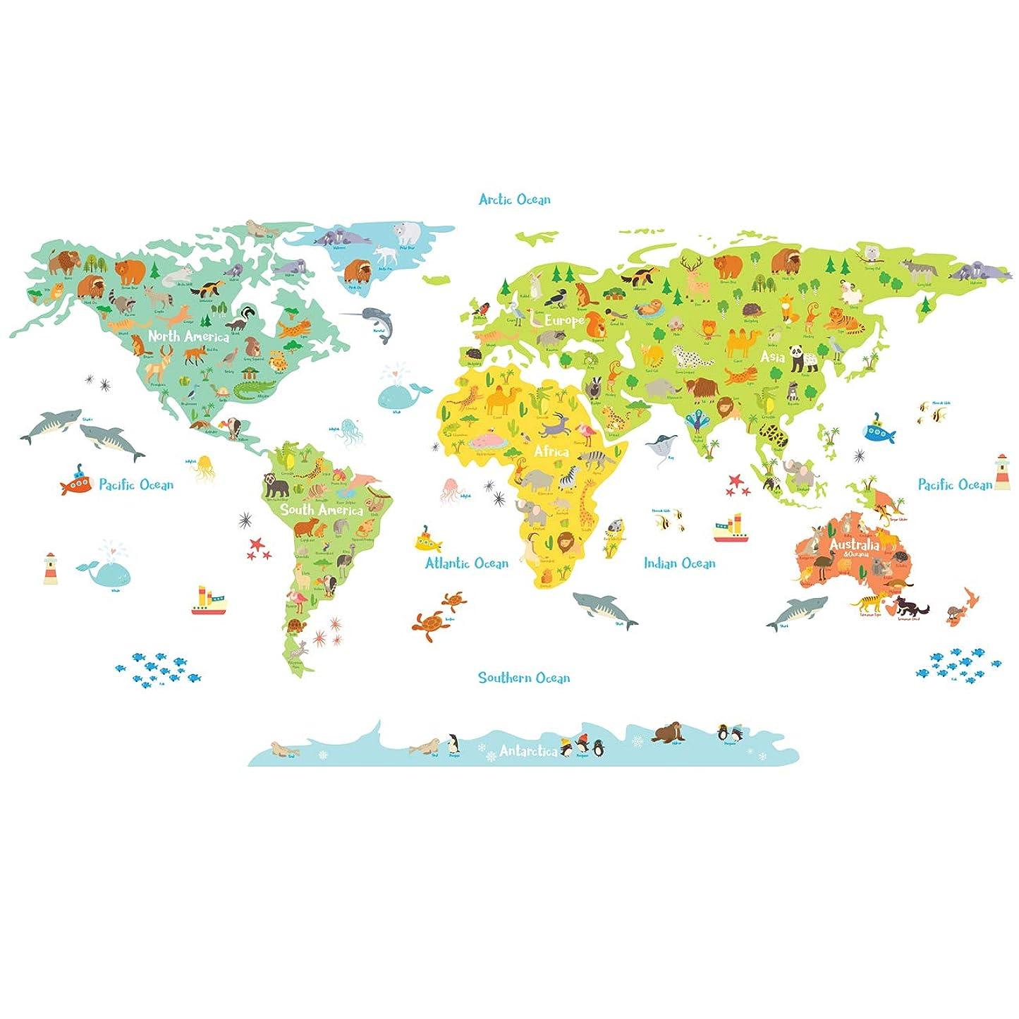 等しい士気バストDECOWALL 世界の動物たち 世界地図 ウォール ステッカー デコ 幼稚園 保育園 子供部屋 (大) DL-1815