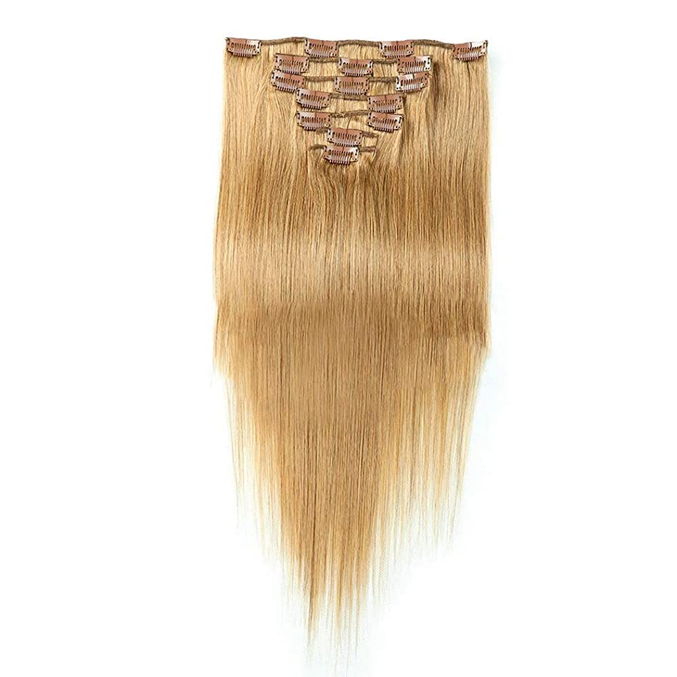 談話特異性拷問YESONEEP ヘアエクステンション人毛20インチブロンド#16色7個70gダブル横糸ソフトストレートフルヘッド用女性ブロンドオンブルかつらファッションかつら (Color : #16 blonde)