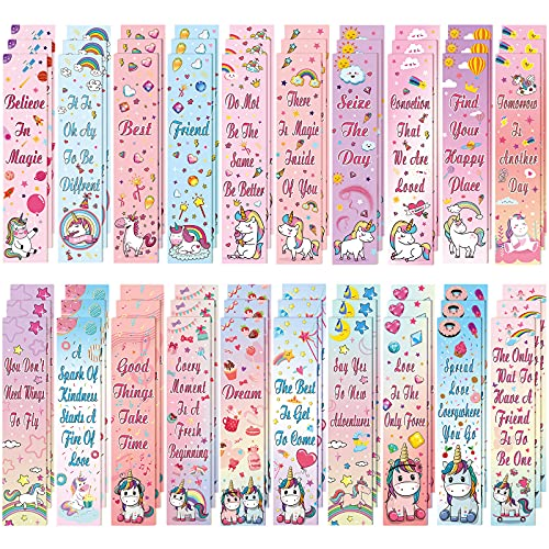 60 Pieces Unicorn and Rainbow Theme Bookmarks Inspirational Quotes Bookmark Colorful Unicorn Bookmarks Charms Encouraging Page Markers for Reader Student, Home School Supplies, 20 Styles