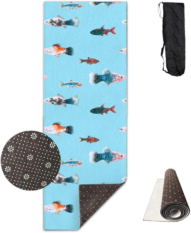 70Inch Long 28Inch Wide Comfort Velvet Yoga Mat, bluee Fish Sense Mat Carrying Strap & Bag