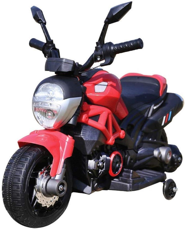 BAKAJI Moto Elettrica Motocicletta modellolo Hunter Elettrica per Bambini 6V Rosso con rossoelle Laterali Accelleratore a Pedale con Battistrada in Gomma Antiscivolo Design Realistico con Luci E Suoni