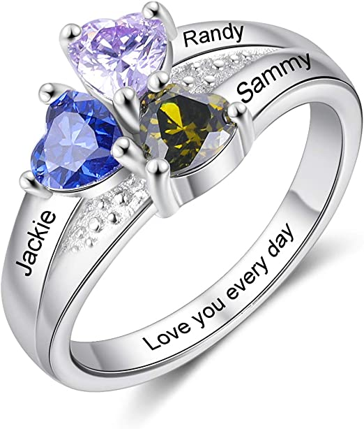 Personalized Mother Rings for Women Silver Color Size 6/7/8/9 Thick Ring for Women With Birthstone Charms 1-4 Names Engraved Custom Wedding Rings