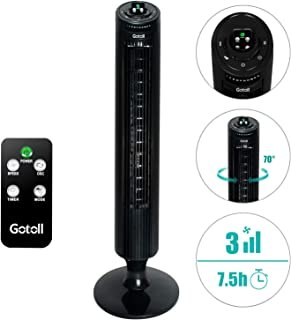 Gotoll Ventilador de Torre Silencioso 45W 84CM,Ventilador de Pie con Mando a Distancia,Oscilación de 70°| 3 Velocidades| 3 Modos| 7.5H Temporizado(Negro)