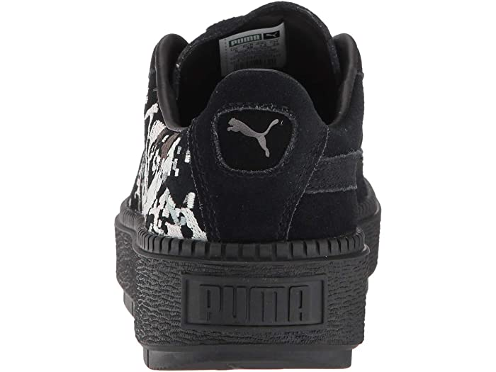 puma suede platforms in white with embroidery