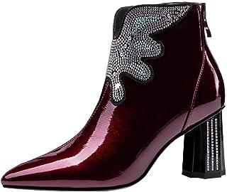 AOOAR Dames Fashion lakleer laarzen met glitter strass